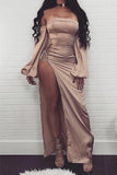 Sexy Champagne Off The Shoulder Slit Long Sleeves Prom Dress