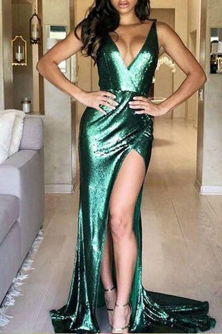 Sexy Green Split Front Deep V-neck Long Prom Dress