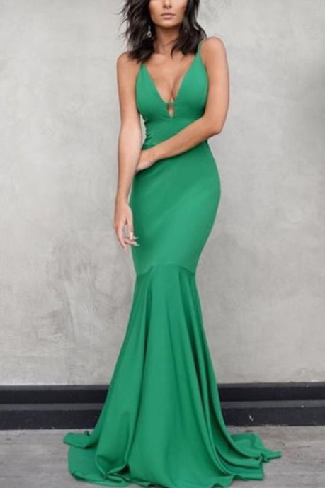 Sexy Hunter Mermaid Formal Dress V-neck Evening Gown