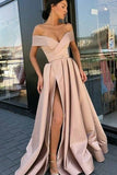 Sexy Off-the-Shoulder A-Line High Split Evening Gown Formal Dress