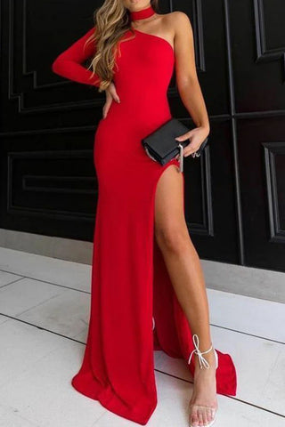 Sexy Red One Shoulder Halter Split Front Evening Prom Dress