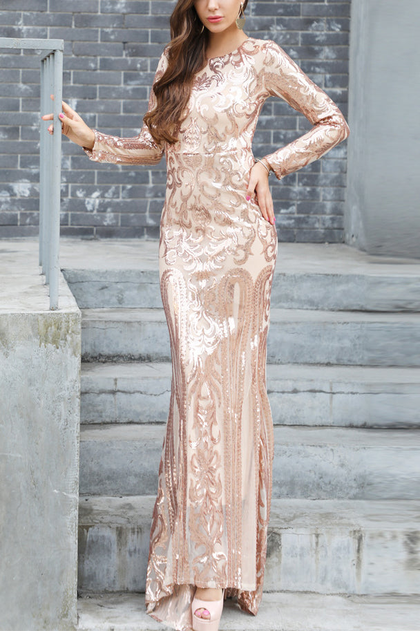 Sexy See Through Long Sleeves Mermaid Scoop Long Evening Dress