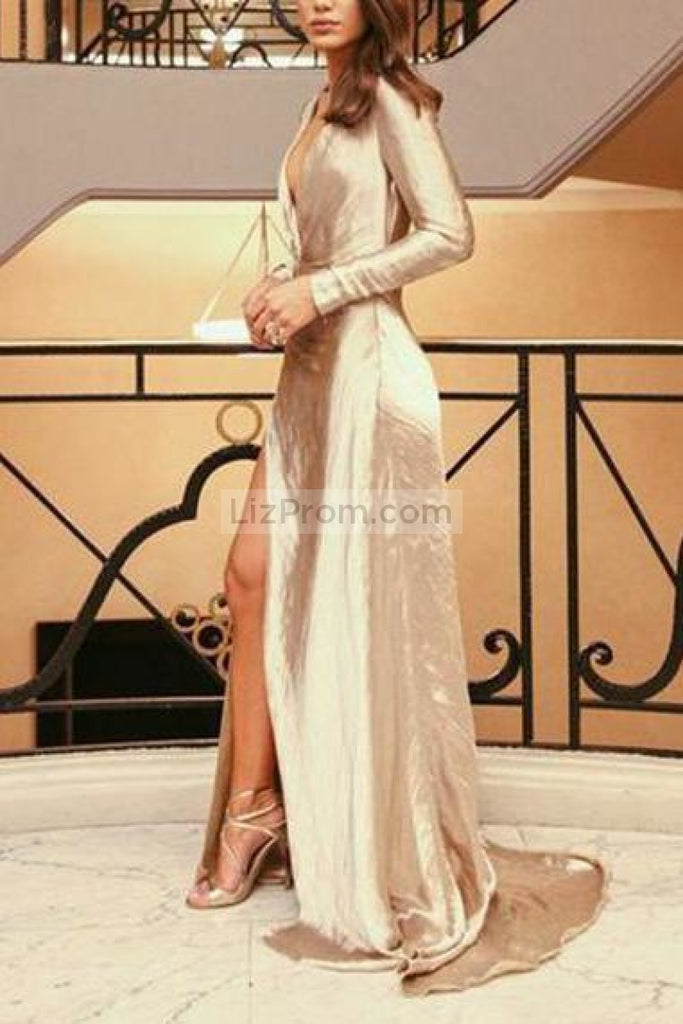 Sexy Gold Deep V-Neck Slit Ruffled Closed Long Sleeves Prom Dress Dresses