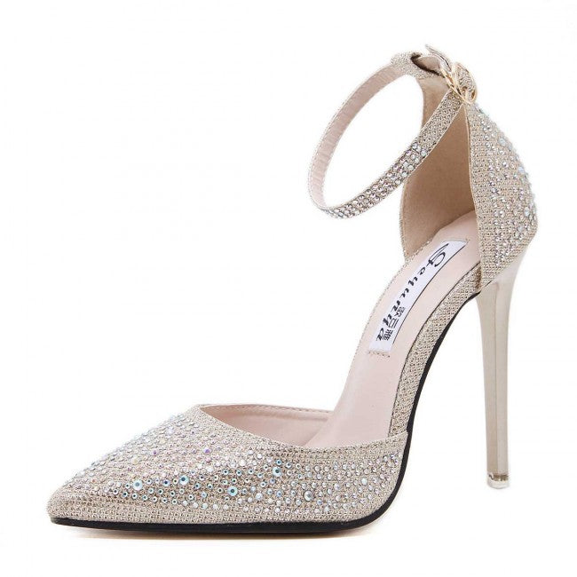 Silver Drilled Toe Stiletto Heels With