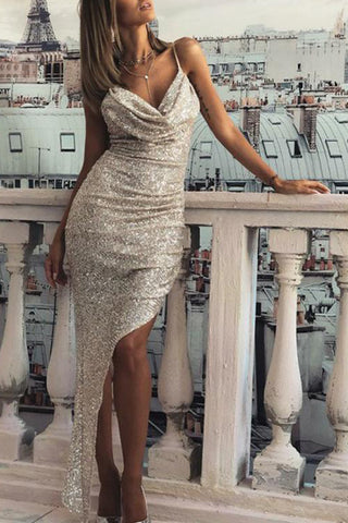 Sexy Silver Sequined V-neck Spaghetti Straps Cowl  Mermaid Prom Dress