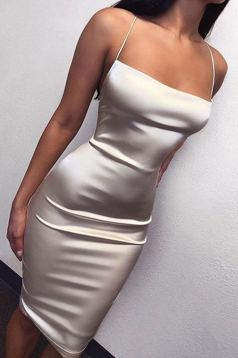 Sexy Spaghetti Straps Knee Length Silver Party Cocktail Dresses