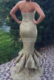 Sexy Strapless Mermaid Gold Sequined Evening Dress With Ruffles Dresses
