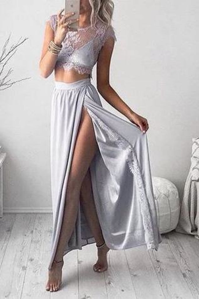 Sexy Two Pieces See Through Lace Slit Chiffon Prom Dress Dresses