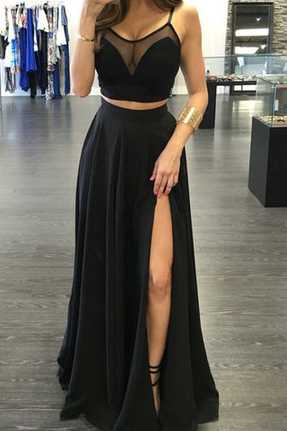 Sexy Two Pieces Sleeveless See-through  Evening Prom Dress