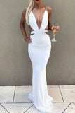 Sexy White Deep V-neck Mermaid Cut Out Spaghetti Straps Prom Dress