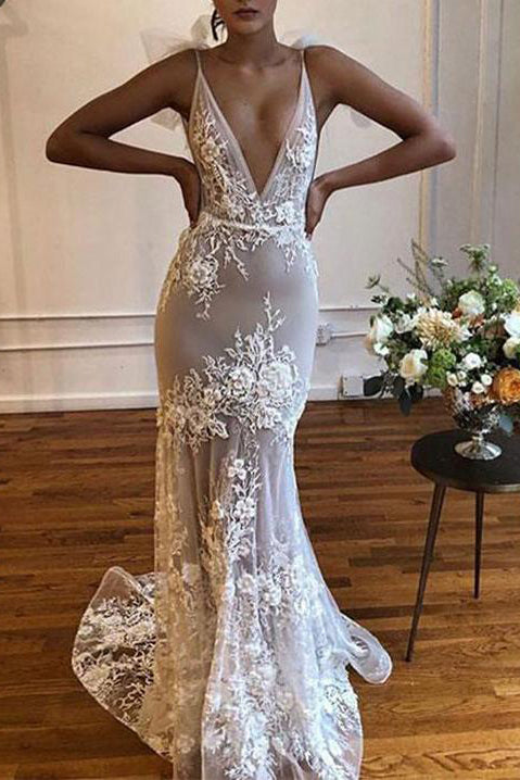 Sexy White Deep V-neck Spaghetti Straps Appliques Mermaid Wedding Dress