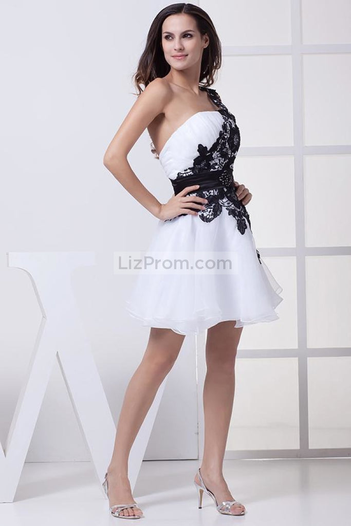 Short White And Black One Shoulder Party Homecoming Dress