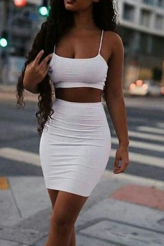 Short Mini White Two Piece Party Homecoming Dress