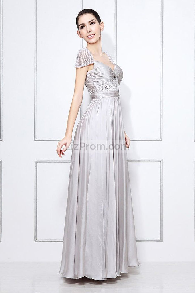 Silver Cap Sleeves Beaded Prom Formal Dress