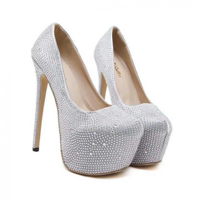 Silver Pump Closed-toe Stiletto Wedding Prom Heels
