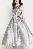 Silver Sleeveless Scoop Open Back Bow A-line Evening Prom Dress