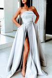 Silver Strapless A-Line High Split Formal Gown Evening Dress
