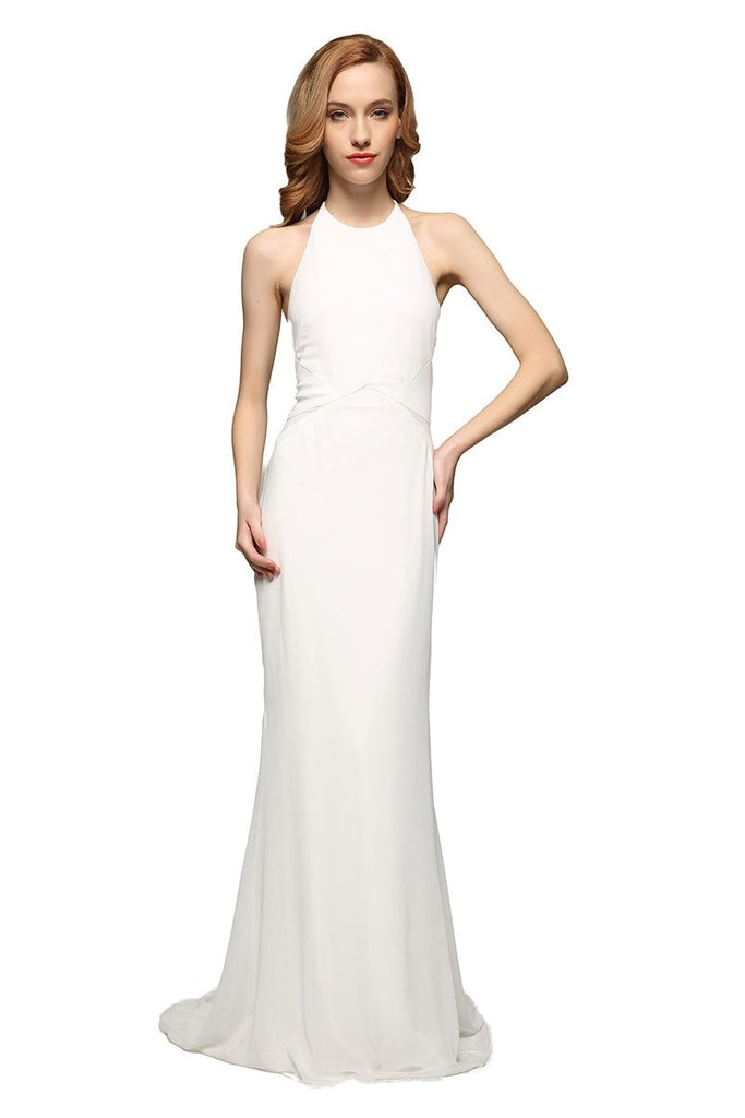Simple White Halter Backless Column Prom Dress