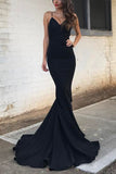 Simple Black Mermaid Spaghetti Straps V-neck Prom Dress
