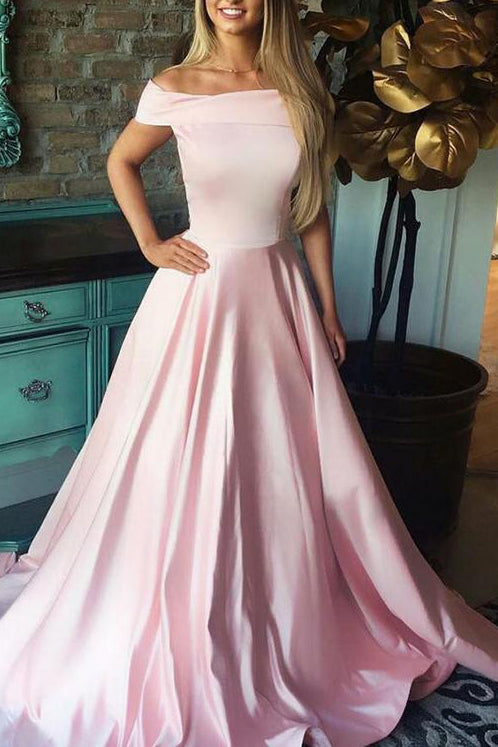 Simple Pink Off-the-Shoulder A-line Evening Prom Dress