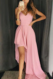 Simple Candy Pink V-neck Sleeveless Long Evening Prom Dress