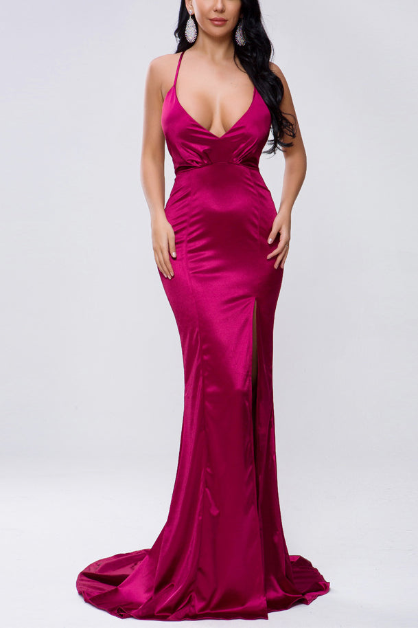 Simple Purple Criss-Cross Strap Halter V-neck Slit Long Prom Dress