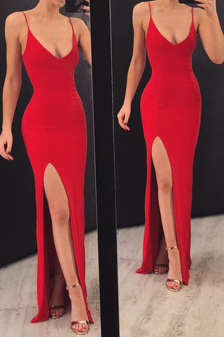 Simple Red Spaghetti Straps Evening Party Dresses