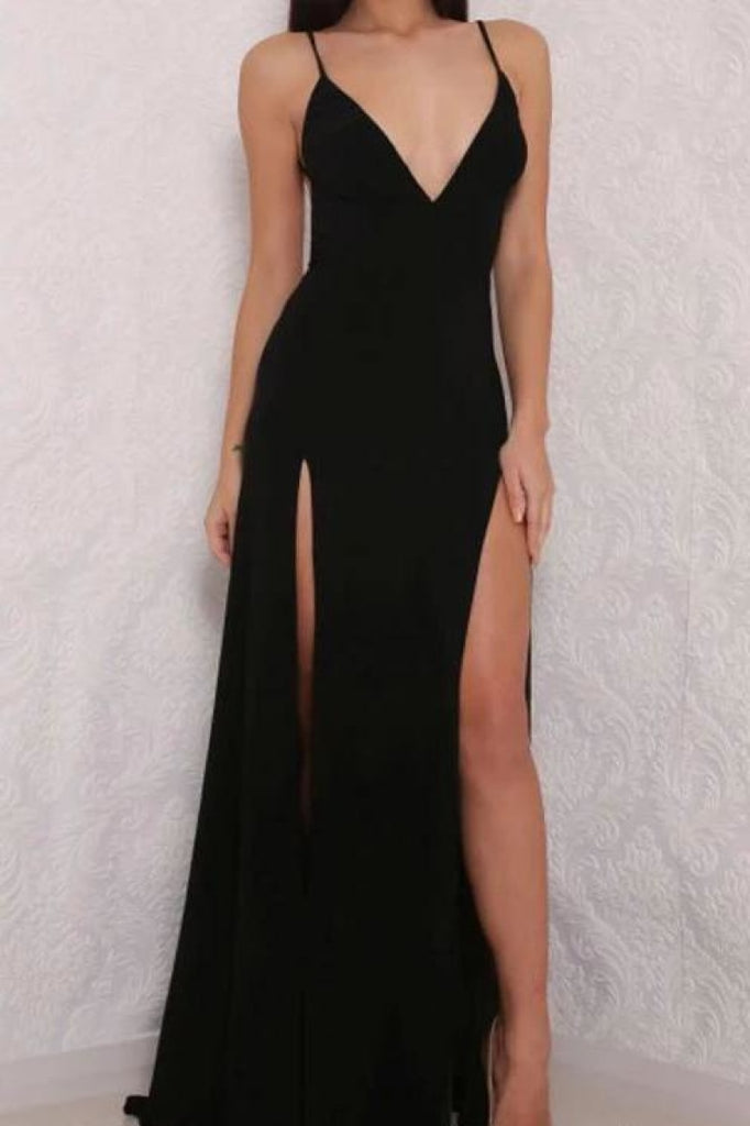 Simple Sexy Black Two Slit A-Line Spaghetti Straps Evening Prom Dress Dresses
