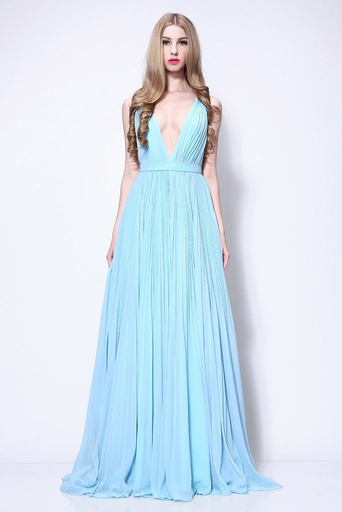 Sky Blue A-line Deep V-neck Pleated Prom Dress