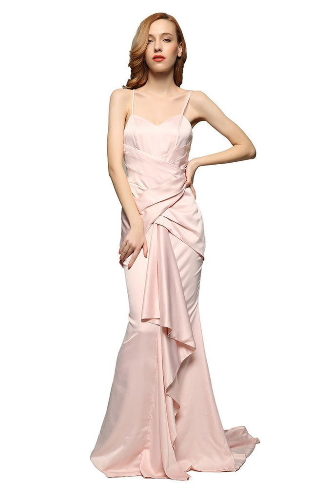 Soft Pink Ruffled Spaghetti Straps Prom Dress
