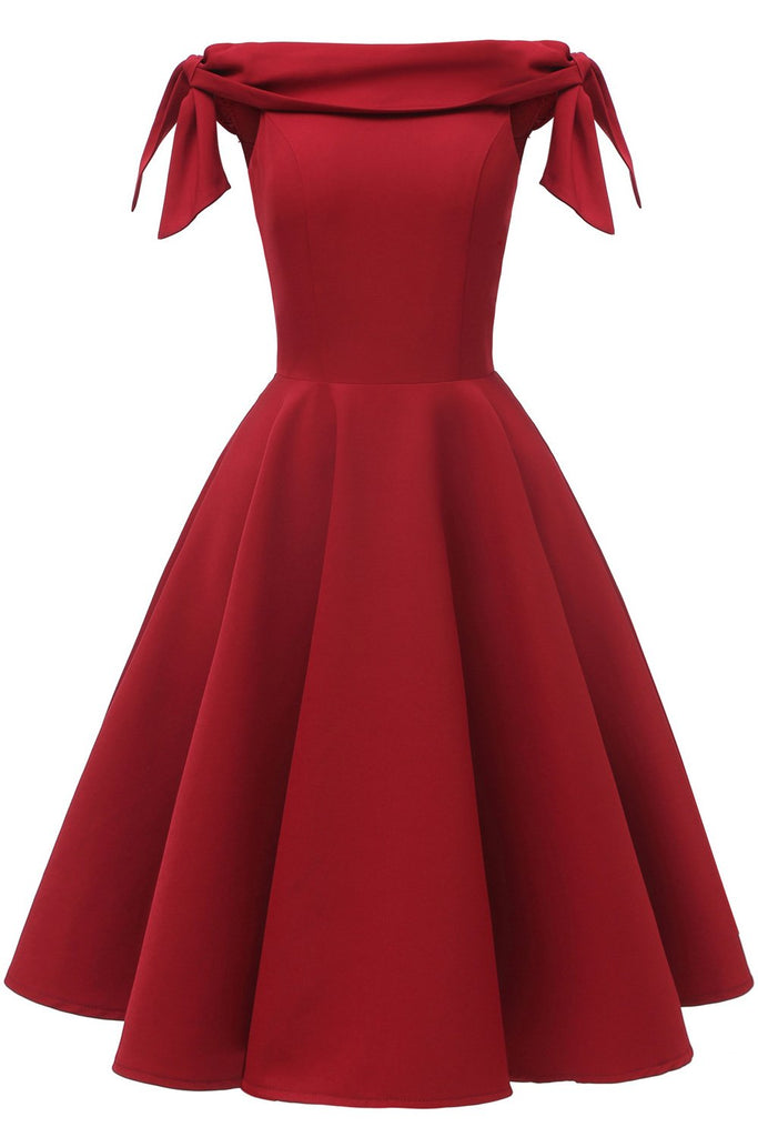 Burgundy Off-the-shoulder Fit And Flare Homecoming Dress