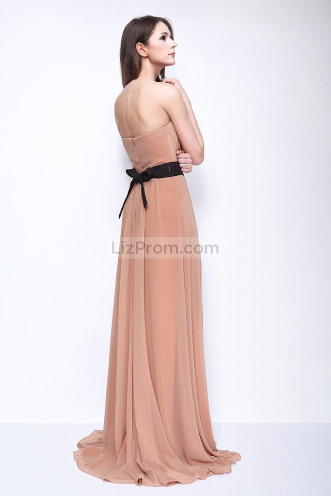 Strapless Chiffon Slit Bridesmaid Evening Dress