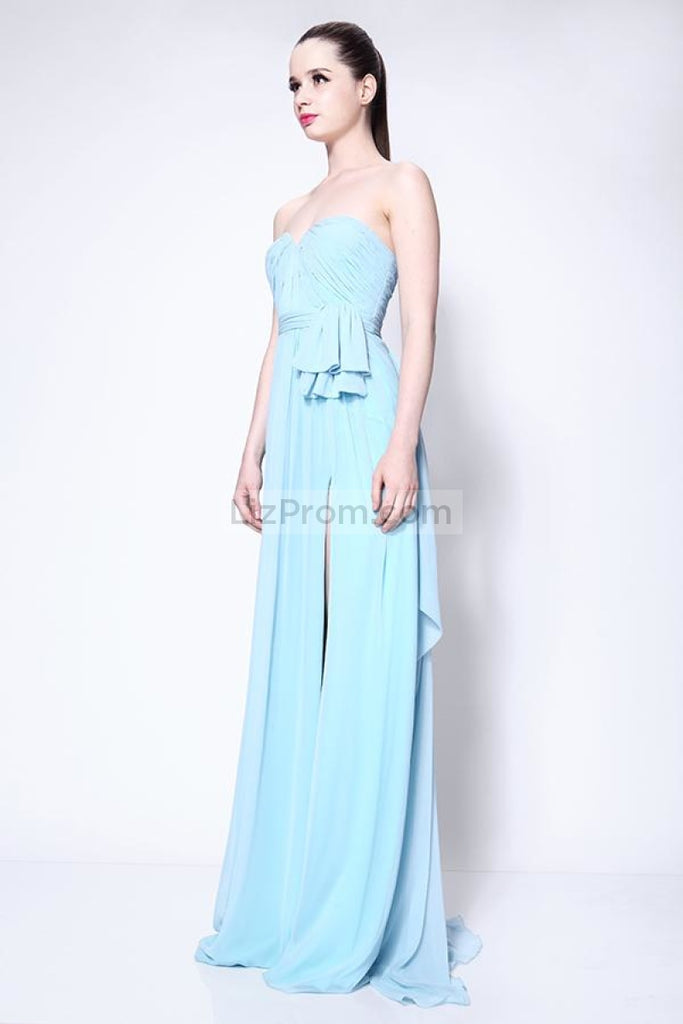 Strapless Light Sky Blue Ruffle Slit Bridesmaid Prom Dress