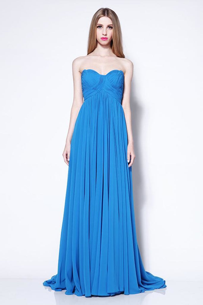 Strapless Pleated Blue Long Prom Bridesmaid Dress