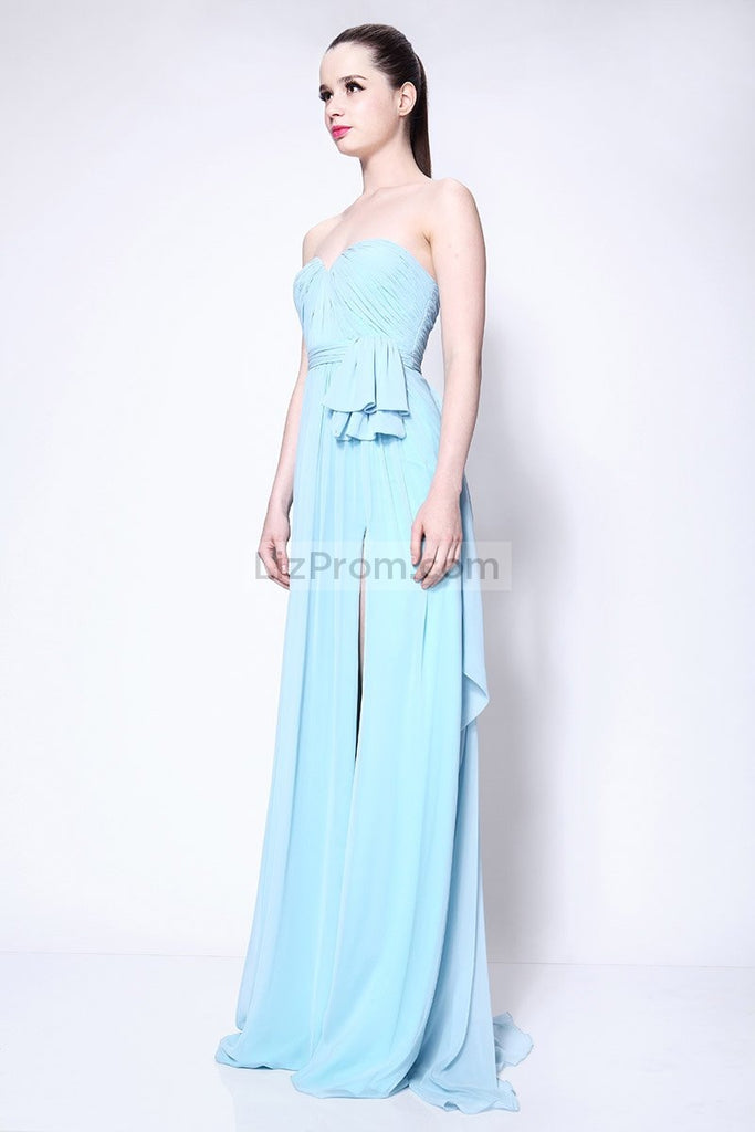 Strapless Sky Blue Ruffled Brideamaid Prom Dress