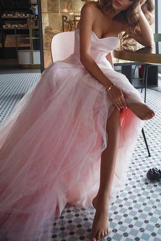 Strapless A-line Pink Tulle Sexy Evening Wedding Dress