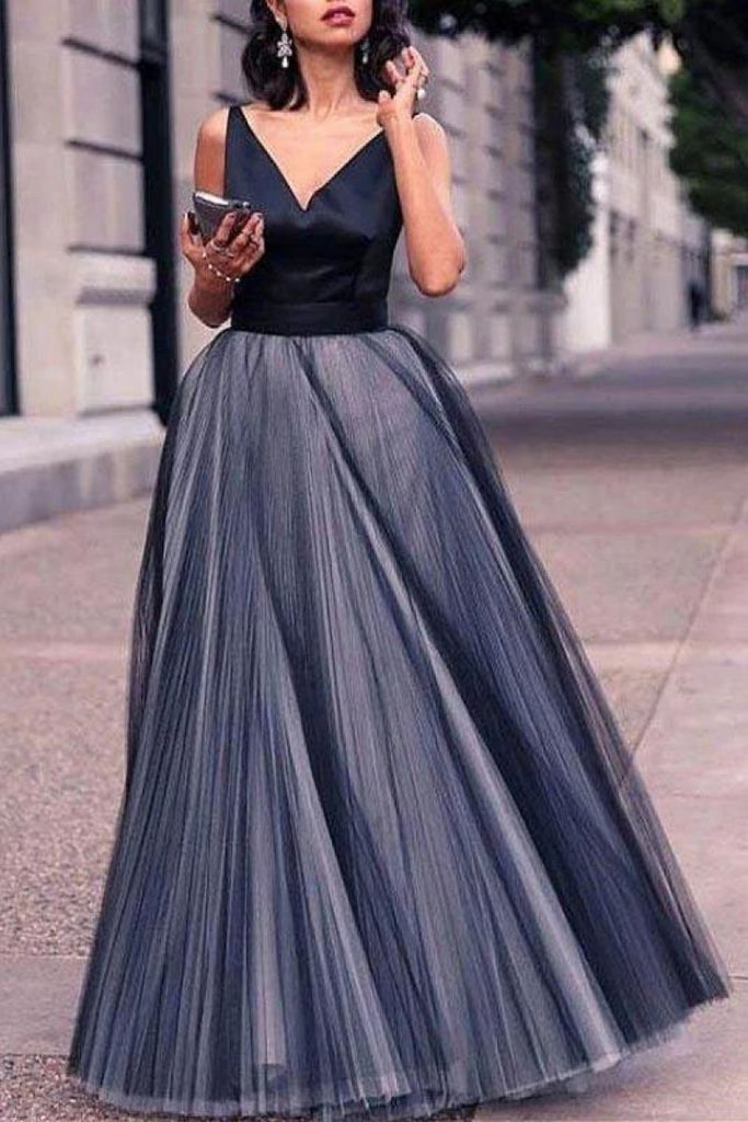 Elegant Tulle A-Line Backless V-Neck Sleeveless Evening Prom Dress Dresses