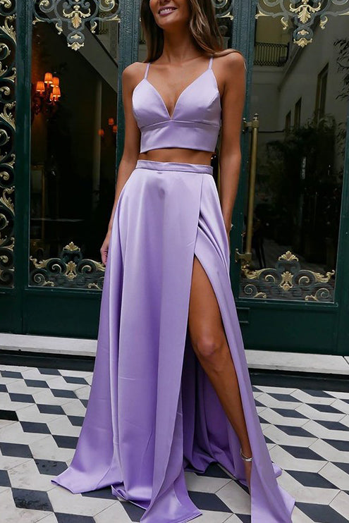 Two Pieces Lilac High Split Evening Prom Dress