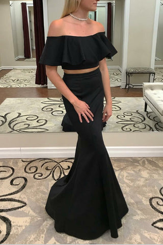 Black Two Pieces Ruffled Mermaid Off Shoulder Prom Dress