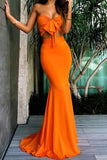 Two Pieces Orange Mermaid Ruffles Evening Dresses