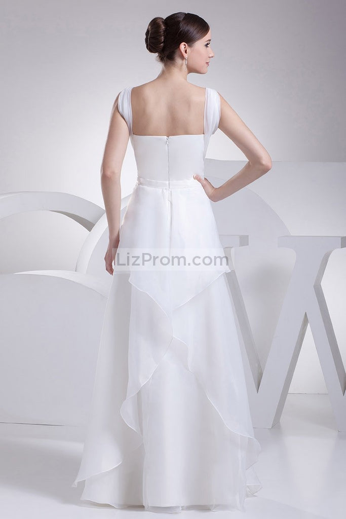 White A-line Beading Chiffon Floor Length Prom Dress