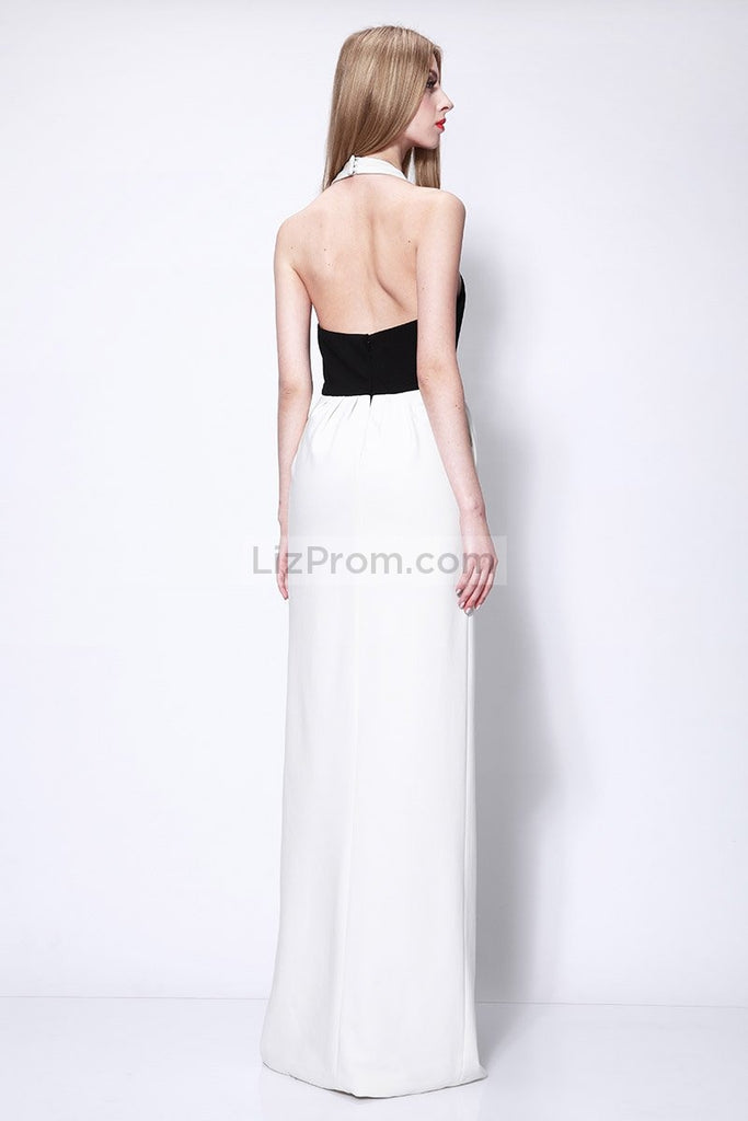 White And Black Halter Thigh-high Slit Prom Dress