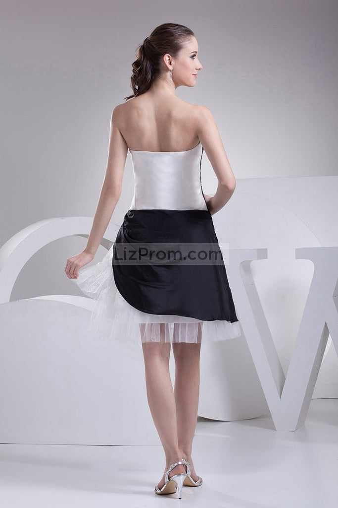White And Black Strapless Sexy Mini Prom Dress