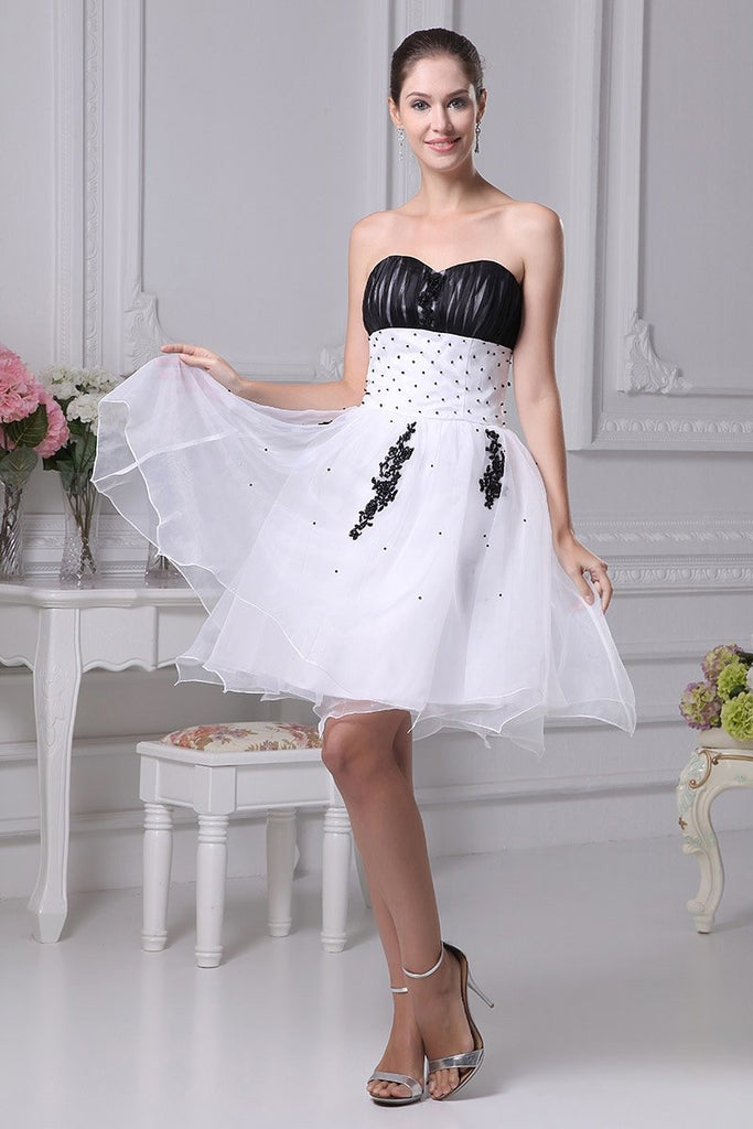 White And Black Strapless Sweet 16 Wedding Short Dress