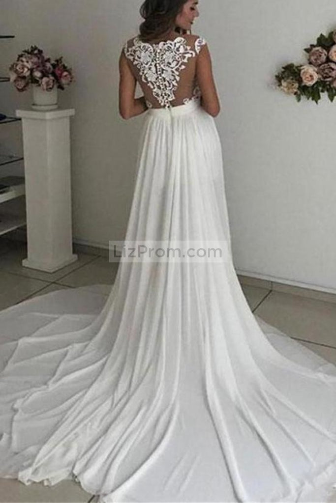 Sexy White Applique Thigh-high Slit Formal Dress