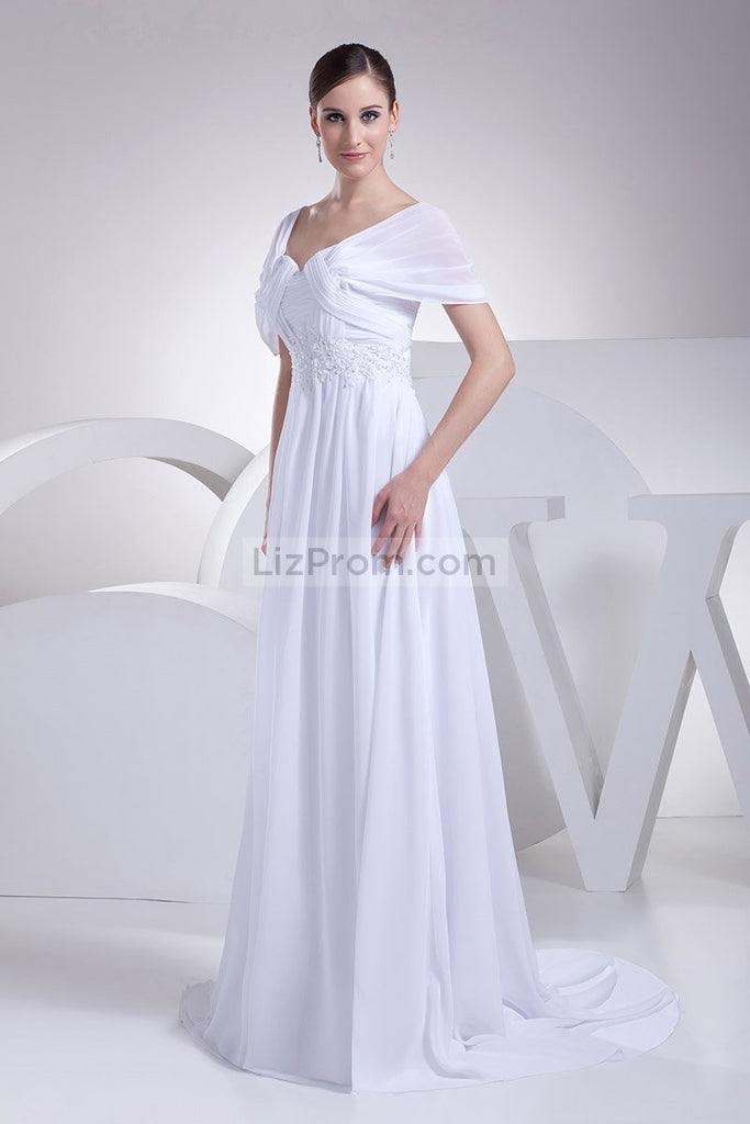 White Cap Sleeves Long Applique Prom Evening Dress