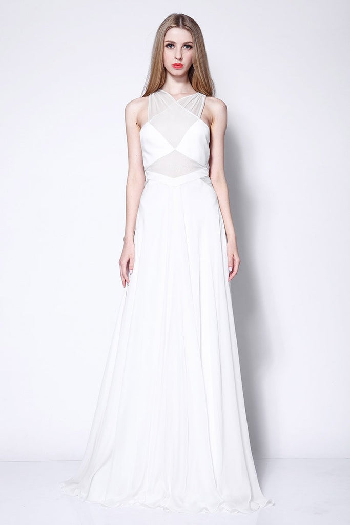 White See Through Chiffon Cut Out A-line Prom Dress
