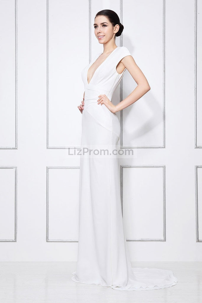 White Column Deep V-neck Formal Prom Dress