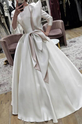 White Formal Wedding Ball Gown With Long Sleeves