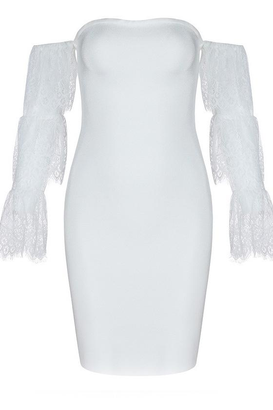 White Lace Strapless Bandage Party Dress With Sleeves